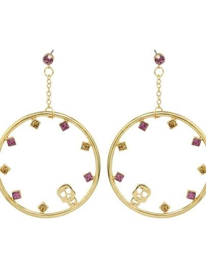 Gold Rhinestone Big Round Drop Earrings