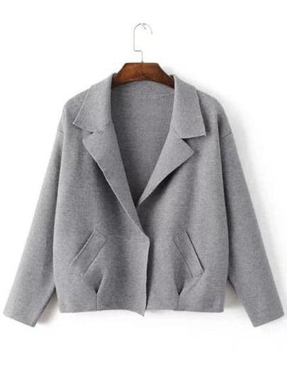 Dark Grey Shawl Collar Hidden Button Sweater Coat