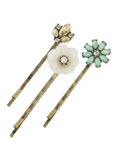 (3 Pcs)Vintage Style Rhinestone Flower Clips Jewelry
