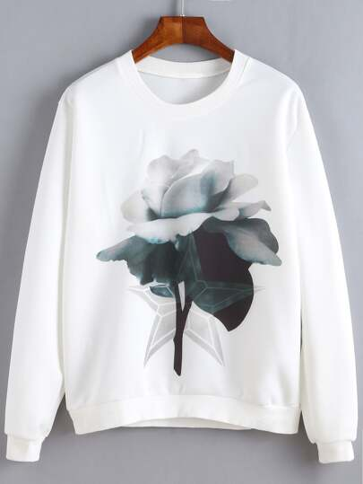 White Flower Print Sweatshirt