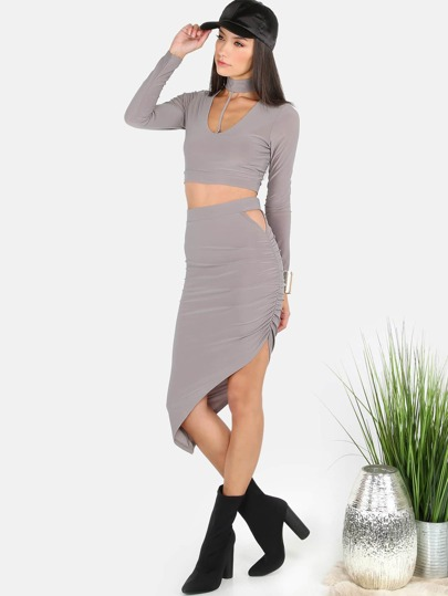 Sleeved Choker Asymmetrical Skirt Set