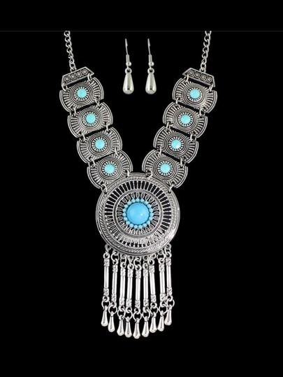 Blue Costume Indian Design Rhinestone Statement Necklace Drop Earrings Set