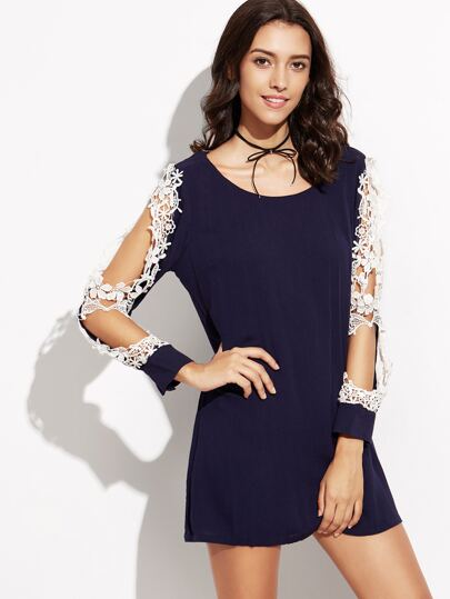 Navy Lace Insert Cut Out Sleeve Dress