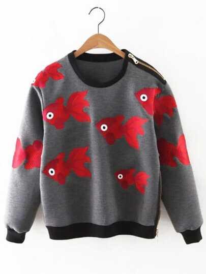 Contrast Trim Fish Embroidered Zipper Embellished Sweatshirt