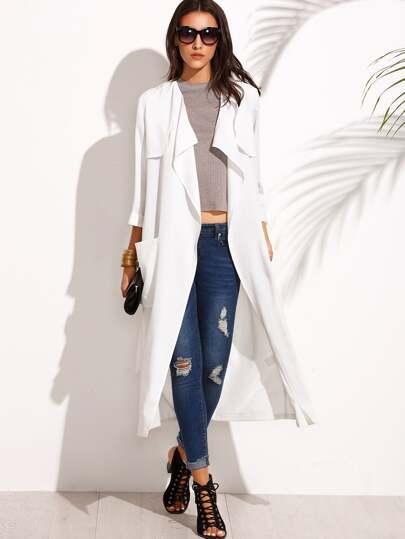 Abrigo largo cintura lazo bolsillo - blanco