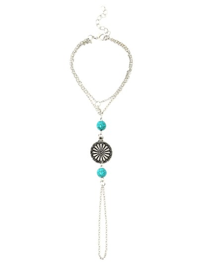 Antique Silver Beaded Round Metal Carved Turquoise Hand Chain
