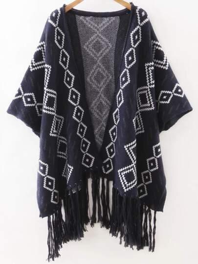 Navy Geometric Print Tassel Hemline Poncho Sweater