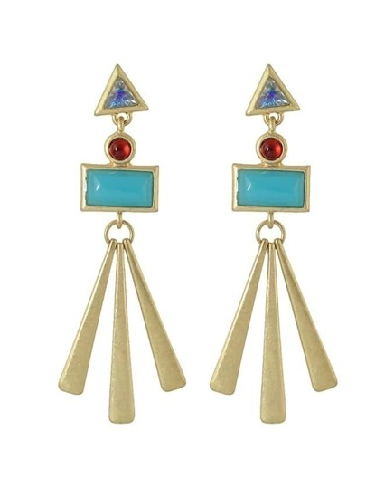 Blue Acrylic Red Rhinestone Geometric Earrings