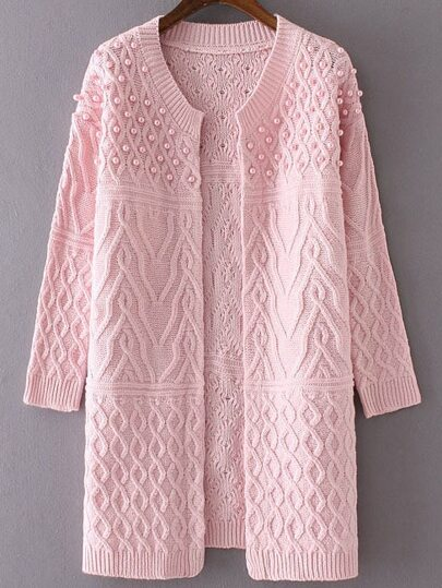 Pink Cable Knit Beaded Long Sweater Coat