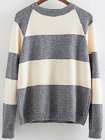 Grey Color Block Ribbed Trim Raglan Sleeve Sweater