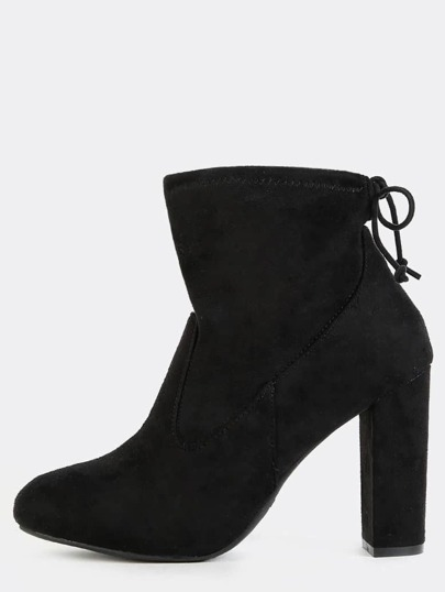 Tie Back Almond Toe Ankle Boots BLACK