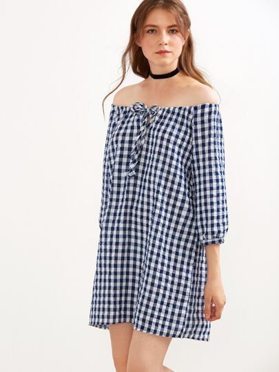 Blue Gingham Off The Shoulder Bow Tie Dress