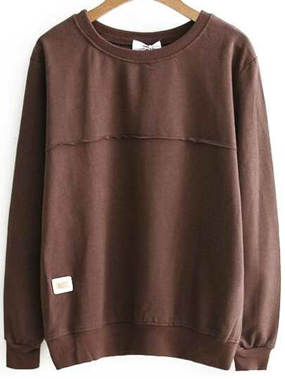 Brown Long Sleeve Sweatshirt With Patch