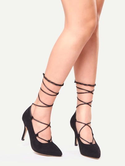 Black Faux Suede Criss Cross Lace Up Pointed Toe Pumps