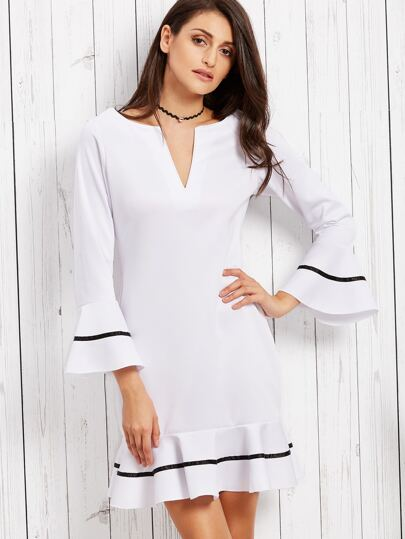 White Deep Notch Neck Bell Sleeve Striped Ruffle Dress