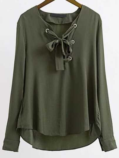 Amry Green Eyelet Lace Up High Low Blouse