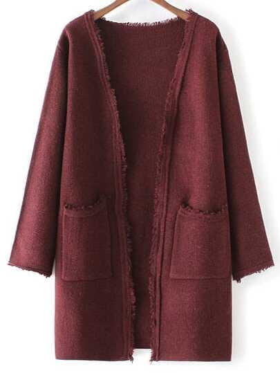 Burgundy Collarless Frayed Cardigan With Pockets