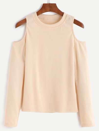 Apricot Open Shoulder Knit T-shirt