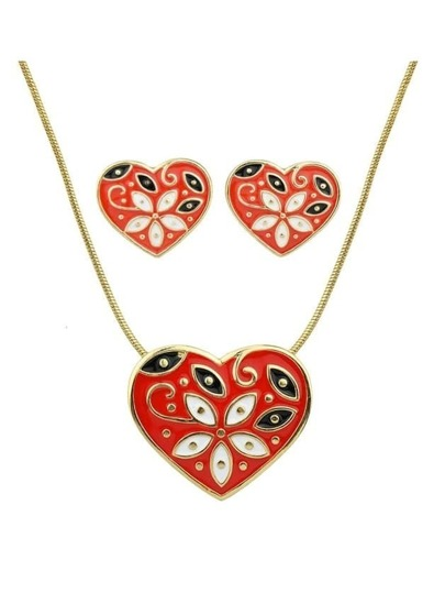 Red Enamel Flower Pattern Heart Necklace Earrings Set