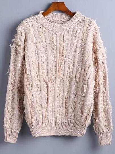 Pink Ribbed Trim Fringe Sweater