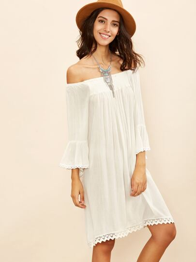 White Off The Shoulder Bell Sleeve Crochet Trim Dress