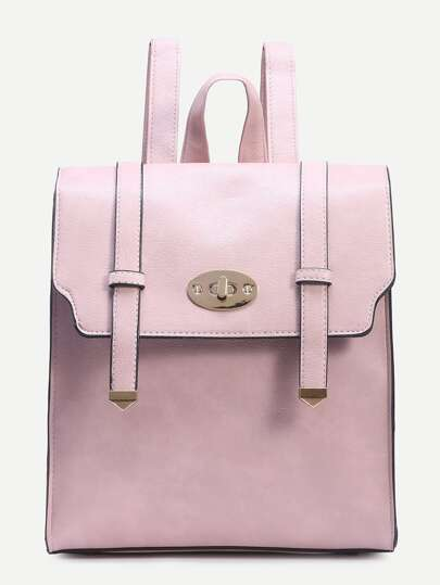 Pink Dual Buckle Strap Front Structured Flap Backpack