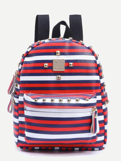Multicolor Striped Print Studded Backpack
