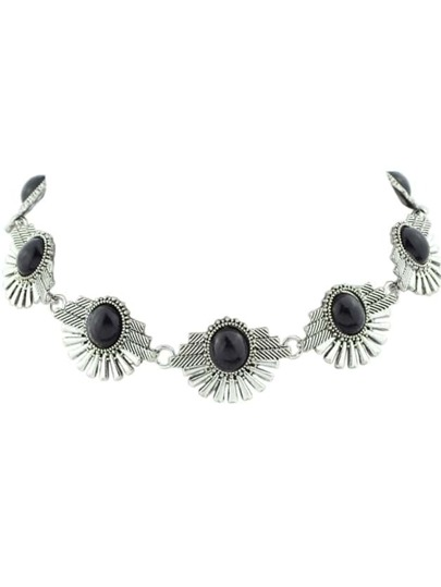 Black Indian Design Imitation Turquoise Flower Choker Necklace
