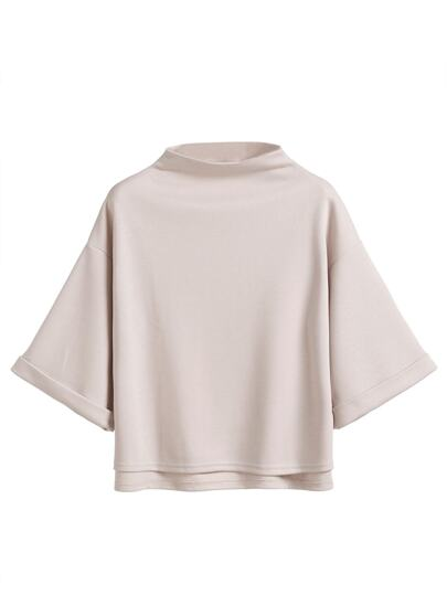 Mock Neck Cuffed Sleeve High Low T-shirt