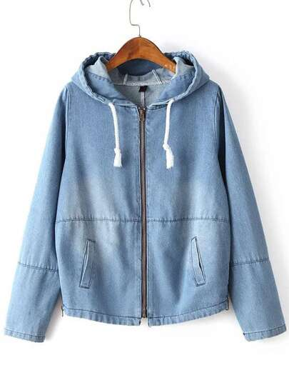Light Blue Zipper Up Drawstring Hooded Jacket With Pocket