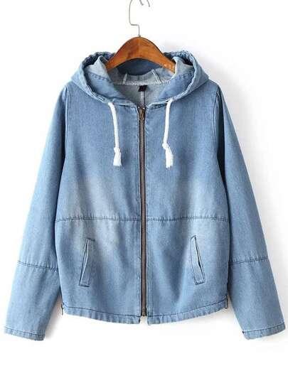 Chaqueta denim con capucha y cremallera - azul claro