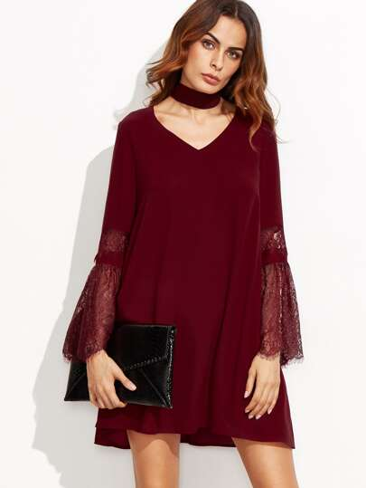 Burgundy Lace Bell Sleeve Swing Dress With Choker