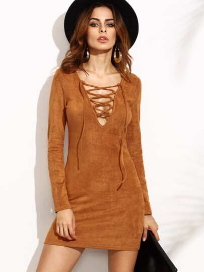Camel Suede Lace Up V Neck Bodycon Dress