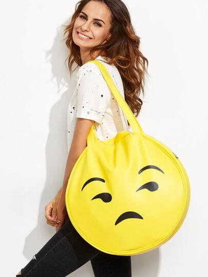 Yellow Emoji Print Oversized Round Tote Bag