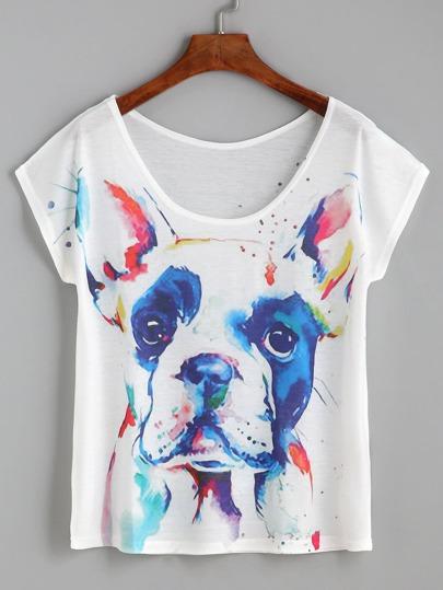 White Bulldog Print Cap Sleeve T-shirt