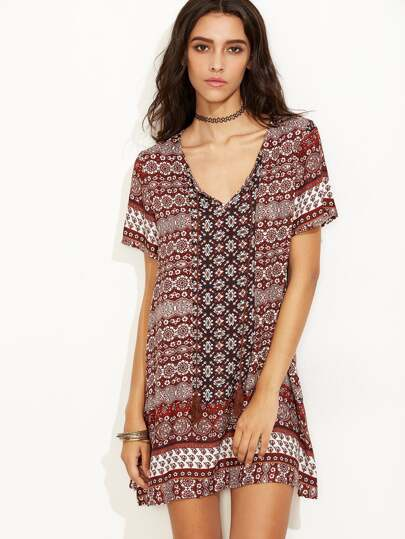 Multicolor Vintage Print Short Sleeve Shift Dress