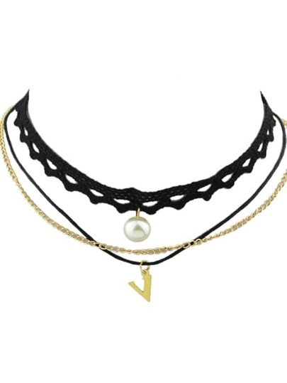 Gothic Multilayers Lace Gold Color Chain Choker Necklace