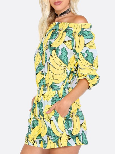 Ruffle Banana Print Playsuit BANANA