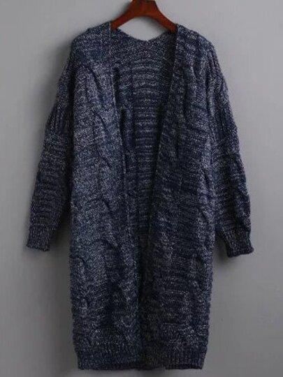 Blue Cable Knit Long Coat