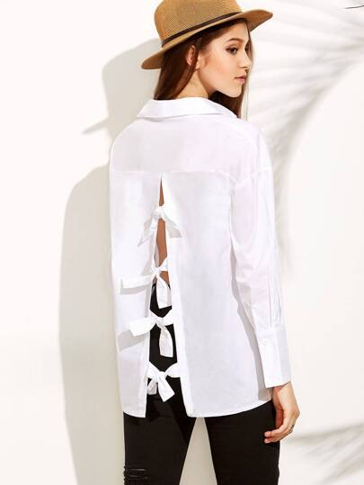 White Knotted Open Back Blouse