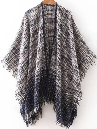 Black Frayed Tweed Poncho Scarf