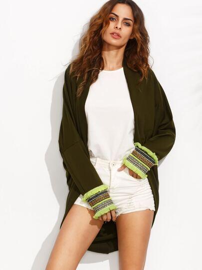 Army Green Tassel Cuff Long Sleeve Kimono