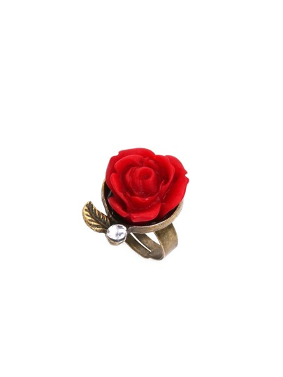 Red Vintage Rose Rhinestone Ring