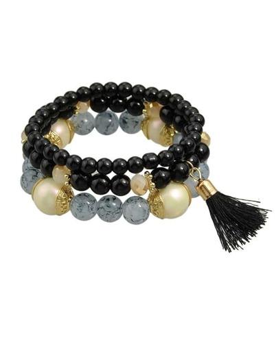 Black Elastic Beads Bracelet