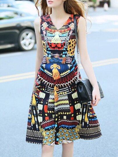 Vestido escote V estampado tribual - multicolor