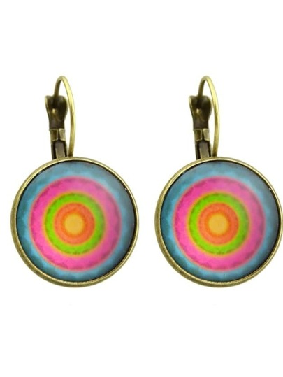 Bronze Imitation Gemstone Round Hoop Earrings