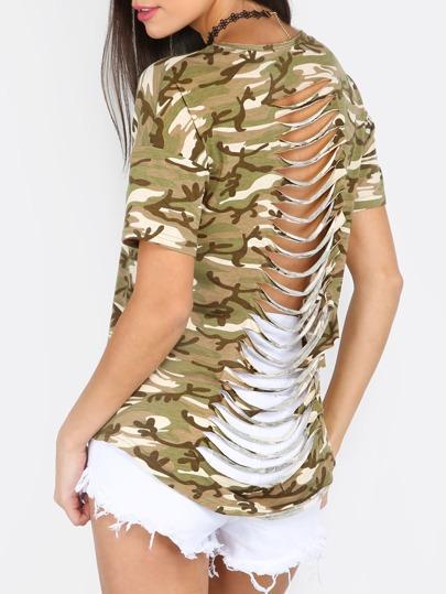 Camouflage Round Neck Short Sleeve T-shirt