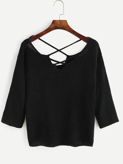 Black Criss Cross Knitted Sweater