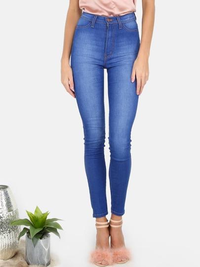 High Waisted Medium Washed Skinny Jeans DENIM