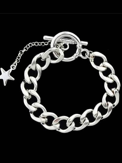 Simple Model Silver Color Wide Chain Link Bracelet